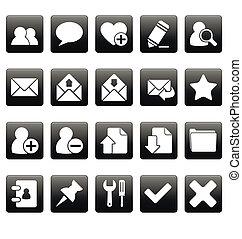 toile, blanc, carrés, noir, icônes