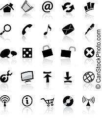 toile, blanc, &, noir, icônes