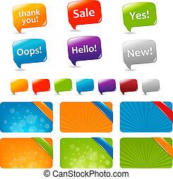 toile, boîtes, parole, bulles, texte