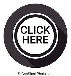 toile, bouton, cliquez ici, icône