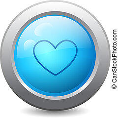 toile, bouton, coeur