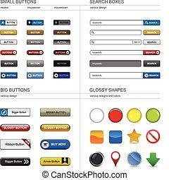 toile, bouton, concevoir élément