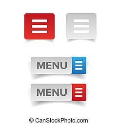toile, bouton, menu, icône