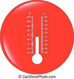 toile, bouton, vecteur, thermomètre, icône