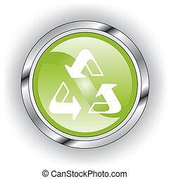 toile, bouton, vert, lustré, ou, icône