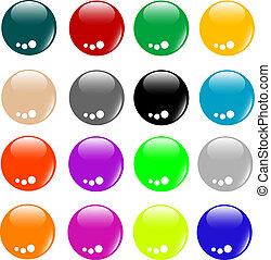 toile, bouton, vide, coloré, collection