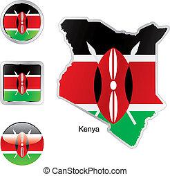 toile, boutons, kenya, formes, drapeau, carte