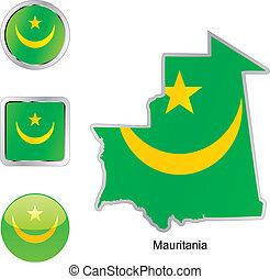 toile, boutons, mauritanie, formes, drapeau, carte