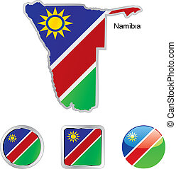 toile, boutons, namibie, formes, drapeau, carte