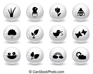 toile, boutons, printemps, icônes