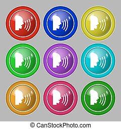 toile, buttons., plat, symbole, moderne, conversation, vecteur, neuf, icon., coloré, rond