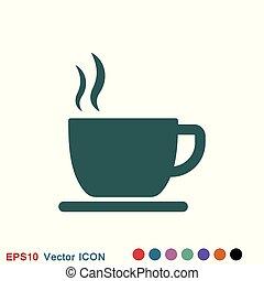 toile, café, illustration., tasse, symbole, boisson, vecteur, icon., stockage