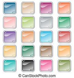 toile, carrée, 20, assorti, boutons, couleurs, ensemble