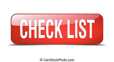 toile, carrée, bouton, liste, isolé, réaliste, chèque, rouges, 3d