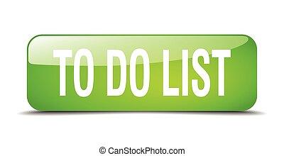 toile, carrée, bouton, liste, isolé, réaliste, vert, 3d