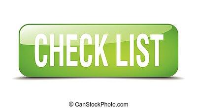 toile, carrée, bouton, liste, isolé, réaliste, vert, chèque, 3d