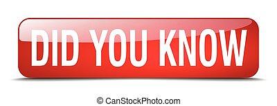 toile, carrée, did, bouton, isolé, réaliste, savoir, vous, rouges, 3d
