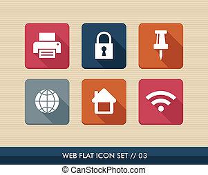 toile, carrée, plat, set., icônes, apps