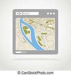 toile, carte, résumé, moderne, fenêtre, ville, navigateur