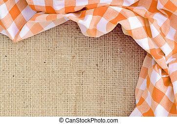toile, checkered, -, sur, plié, orange, rural, nappe, cadre