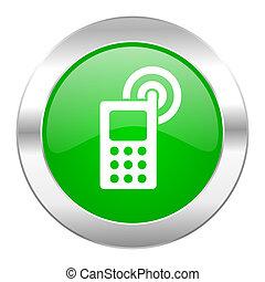 toile, chrome, isolé, téléphonez icône, cercle, vert