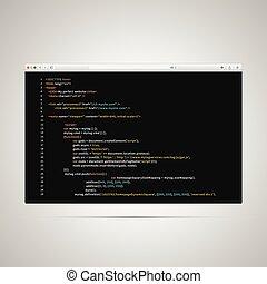 toile, code, simple, moderne, html, arrière-plan noir, page, navigateur