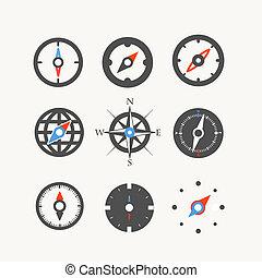toile, compas, collection, icônes