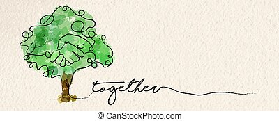toile, concept, arbre, main, aquarelle, bannière