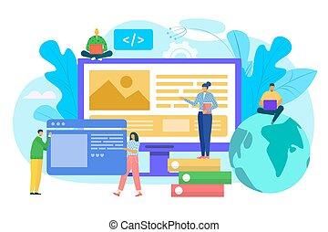 toile, construction, développement, concept, ui, illustration., costructing, vecteur, site, prototyping, site web, computer., interface, gens