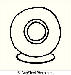 toile, contour, griffonnage, main, appareil photo, dessiné, icône