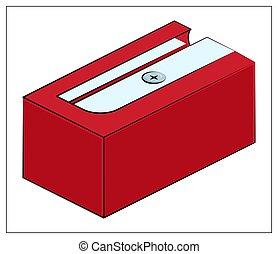 toile, crayon, icône, illustration, vecteur, ui, rouges, icon., plat, app, aiguisoir, conception, logo