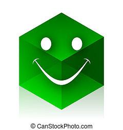 toile, cube, moderne, élément, conception, sourire, icône, vert