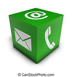 toile, cube, vert, nous, contact