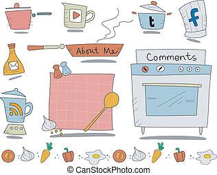 toile, cuisine, icônes