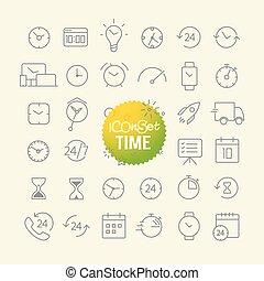 toile, différent, contour, icônes, mobile, collection., app,...
