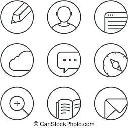 toile, différent, ensemble, arrondi, icônes, corners., ele, conception, navigateur