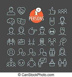 toile, différent, ensemble, contour, icônes, mobile, collection., app, sombre, personne, vecteur, fond