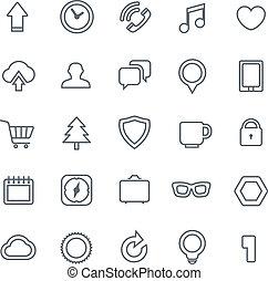 toile, différent, icônes, isolé, collection, blanc