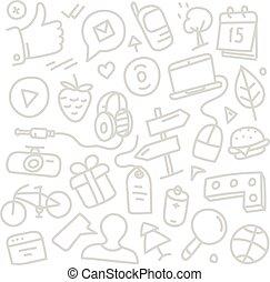 toile, différent, silhouettes., clip-art, style, illustration, croquis, interface, dessin animé