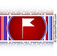 toile, drapeau, signe, bouton, icône
