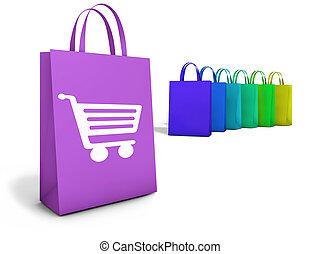 toile, e-commerce, faire courses ligne, sacs