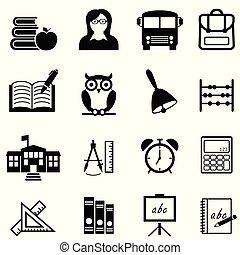 toile, ensemble, école, apprentissage, education, icône
