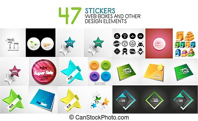toile, ensemble, étiquettes, formes, vecteur, conception, interface, autocollants, login, éléments