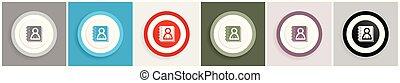 toile, ensemble, adresse, options, applications, vecteur, conception, mobile, 6, illustrations, livre, icône