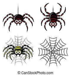 toile, ensemble, araignés, &