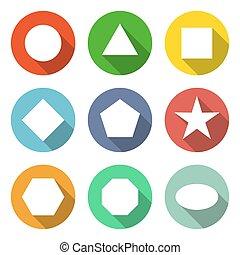 toile, ensemble, arrondi, coloré, icônes, collection, boutons, vecteur, 9, formes, géométrique