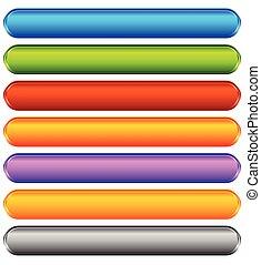 toile, ensemble, bannière, coloré, espace, bouton, backgrounds., ou, boutons, message., vide, impression, horizontal, ton, vif
