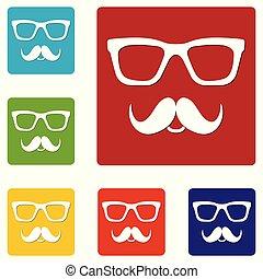 toile, ensemble, bouton, isolé, icons., arrière-plan., vecteur, illustration, moustaches, blanc, nerd, lunettes