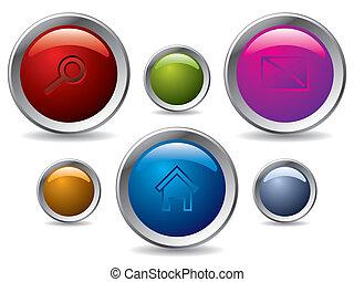 toile, ensemble, bouton