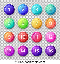 toile, ensemble, boutons, couleur, bouton, nombre, isolé, numbers., vecteur, cercle, gradients, bullets.